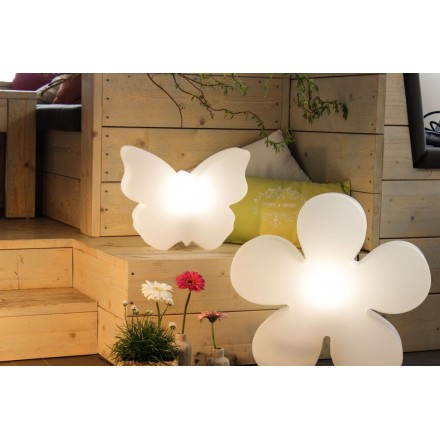 Fleur lumineuse TREFLE (blanc, LED multicolore, Ø 40 cm)