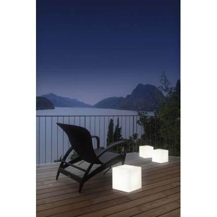 Table basse lumineuse CUBE intérieur extérieur (blanc, H 33 cm)