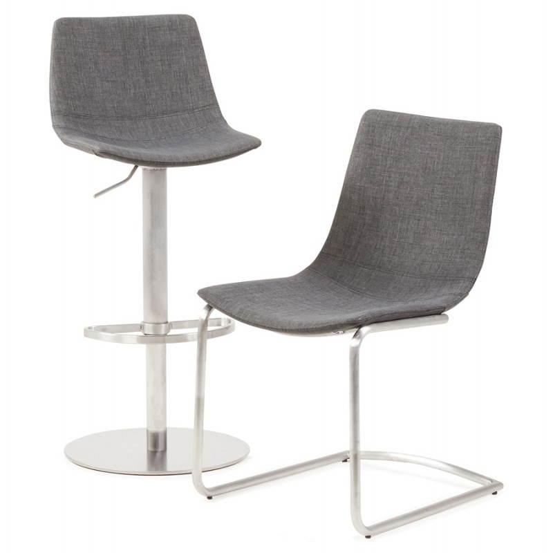 Chaise design et moderne RIMINI en textile (gris) - image 24988