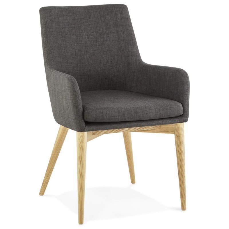 Diseño escandinavo estilo tela silla de BARBARA (gris oscuro) - image 25038