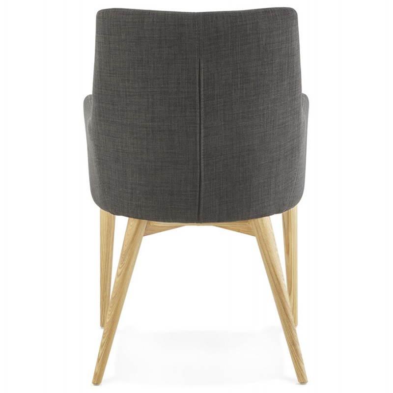 Fauteuil de style scandinave design BARBARA en tissu (gris foncé) - image 25042