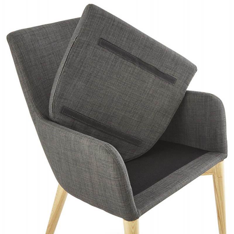 Diseño escandinavo estilo tela silla de BARBARA (gris oscuro) - image 25045