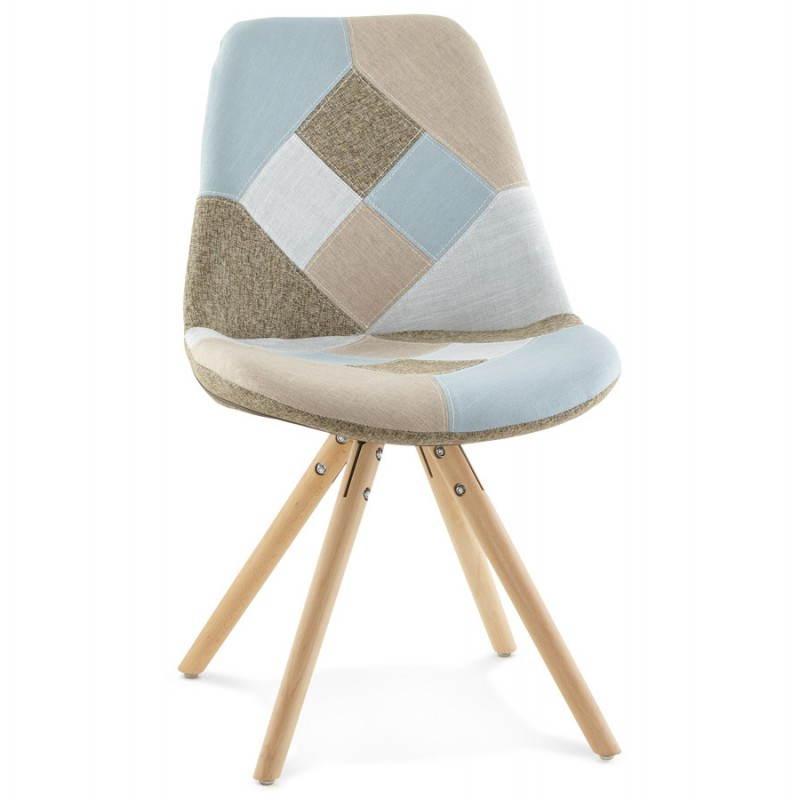 Chaise patchwork style scandinave BOHEME en tissu (bleu, gris, beige) - image 25356