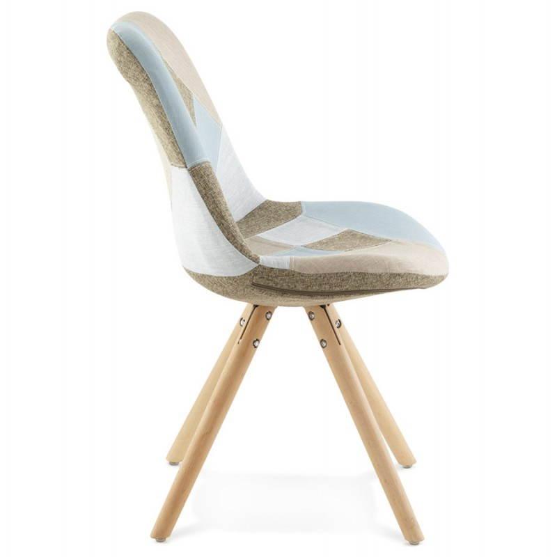 Chair patchwork style Scandinavian BOHEMIAN fabric (blue, grey, beige) - image 25358