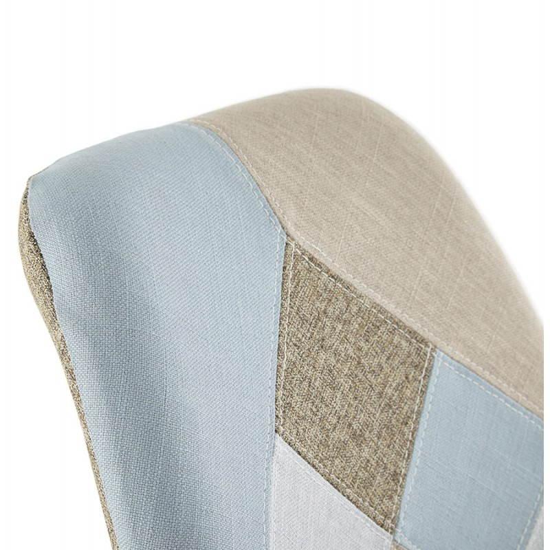 Chaise patchwork style scandinave BOHEME en tissu (bleu ...