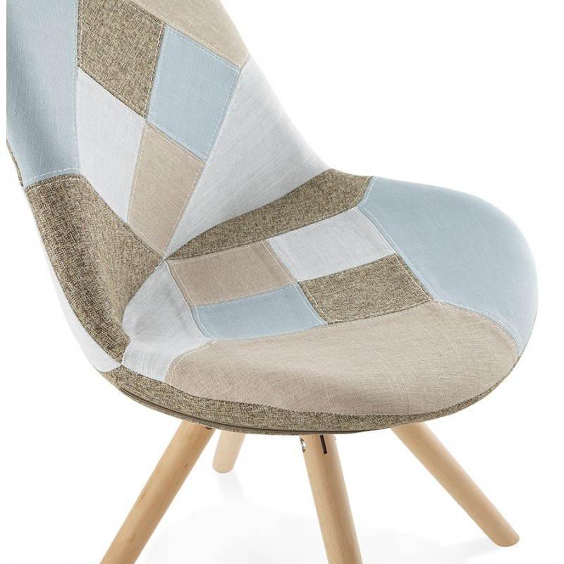 Chaise patchwork style scandinave BOHEME en tissu (bleu, gris, beige) - image 25362
