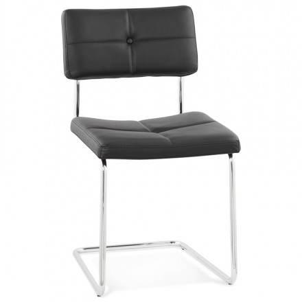 Chaise design capitonnée BONOU en polyuréthane (noir)
