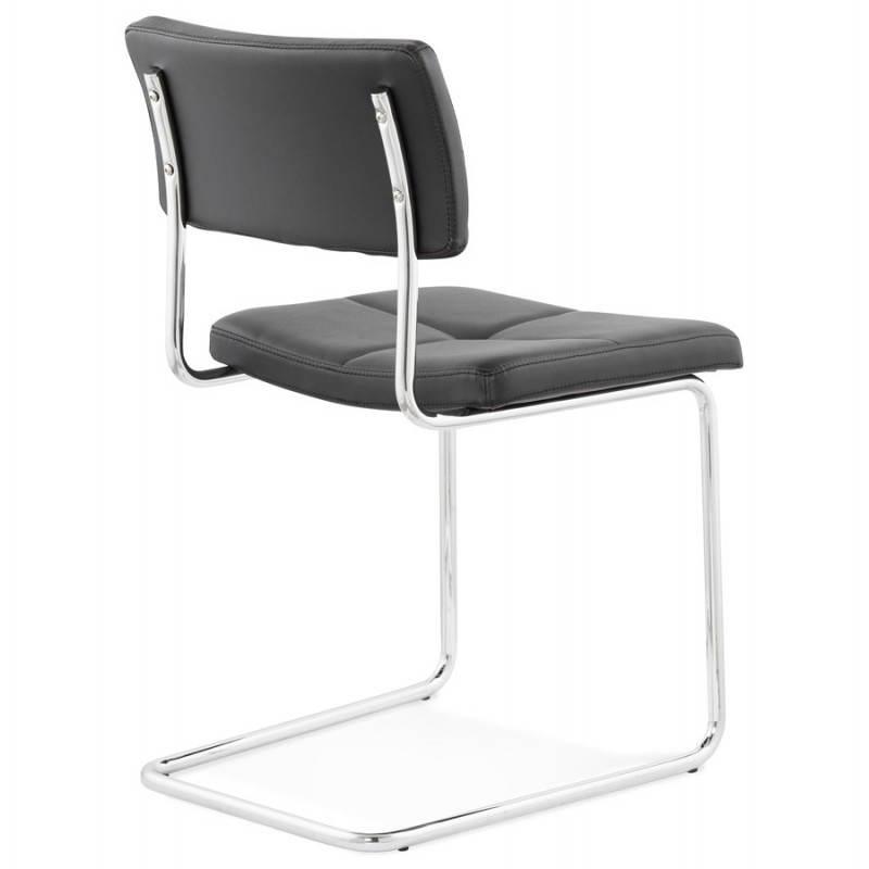 Chaise design capitonnée BONOU en polyuréthane (noir) - image 25399