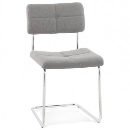 Chaise design capitonnée BONOU en tissu (gris clair)