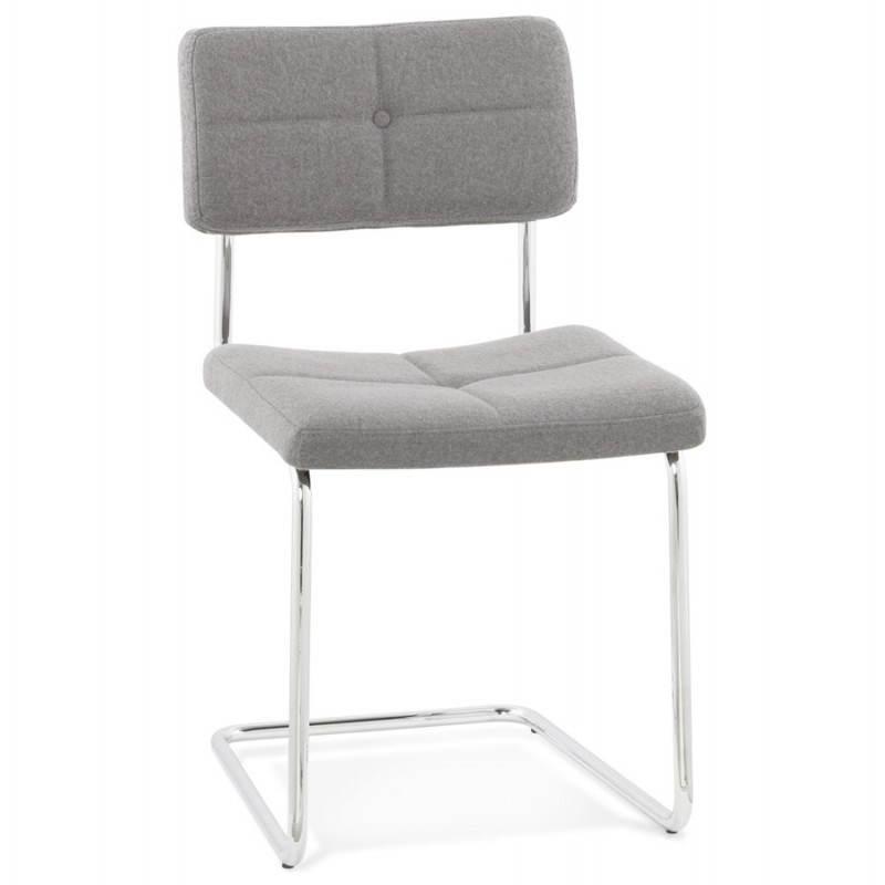 Chaise design capitonnée BONOU en tissu (gris clair) - image 25409