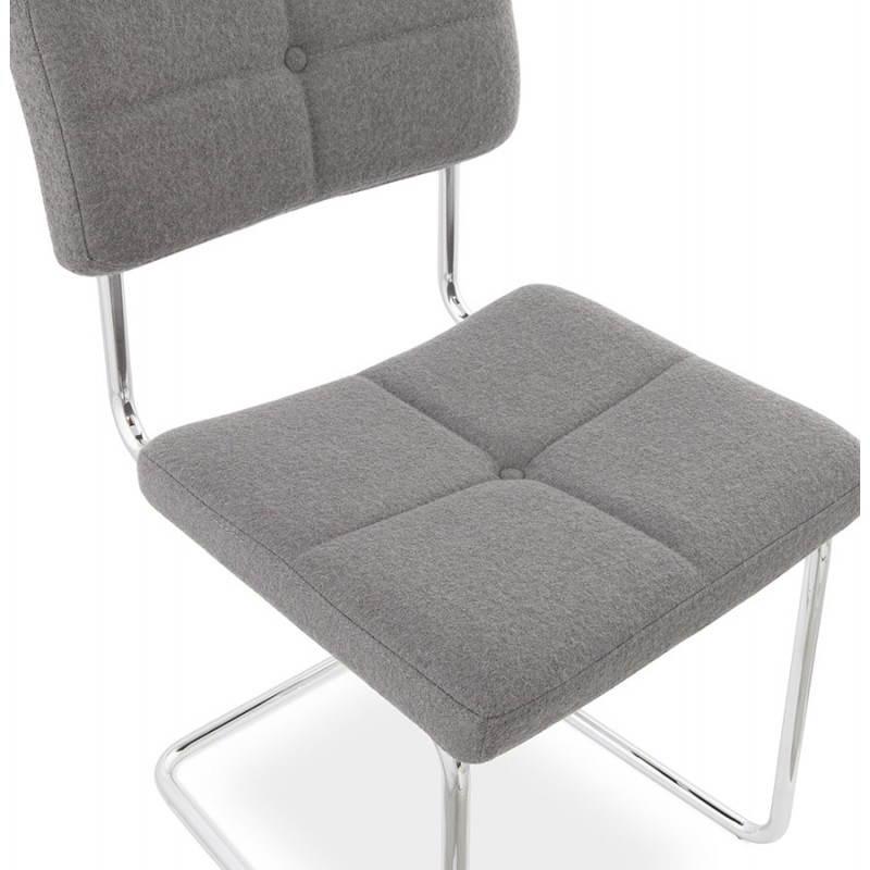 Chaise design capitonnée BONOU en tissu (gris clair) - image 25415