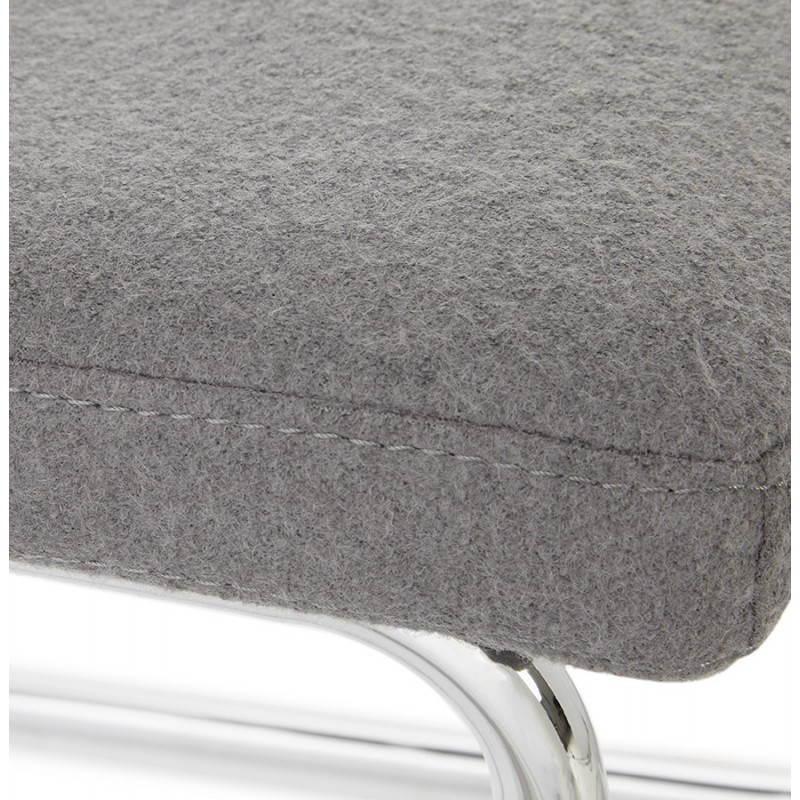 Chaise design capitonnée BONOU en tissu (gris clair) - image 25418