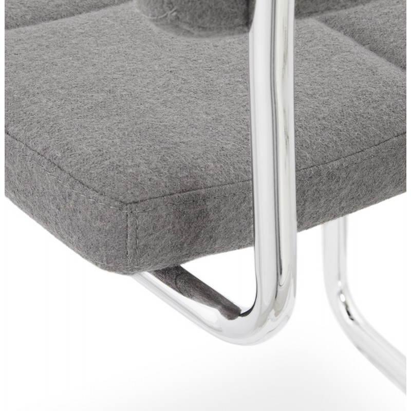 Chaise design capitonnée BONOU en tissu (gris clair) - image 25421