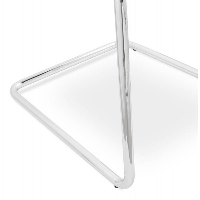 Chaise design capitonnée BONOU en tissu (gris clair) - image 25422