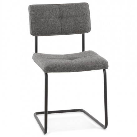 Design chair upholstered in fabric BONOU (dark gray)