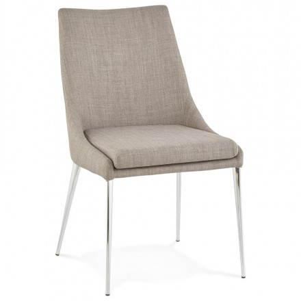 Chaise design rétro VALOU en tissu (gris)