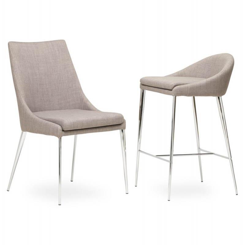 Chaise design rétro VALOU en tissu (gris) - image 25482