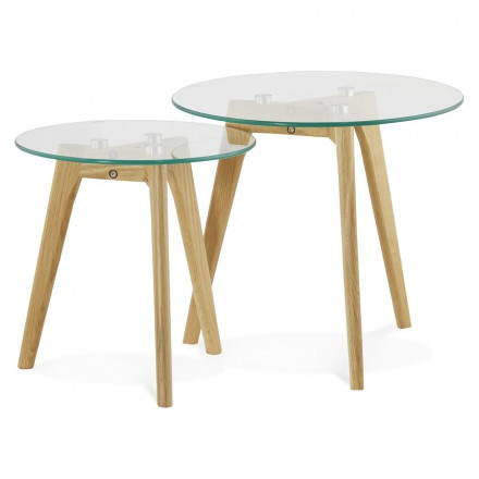 Coffee tables design pull-out ART in glass and oak (transparent)