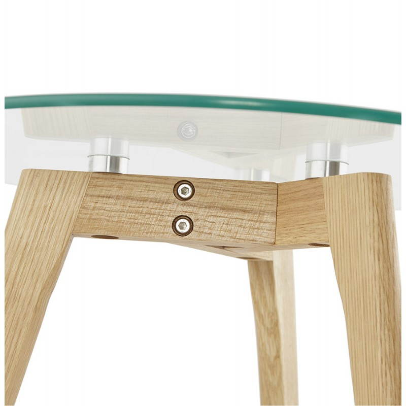 Coffee tables design pull-out ART in glass and oak (transparent) - image 25519