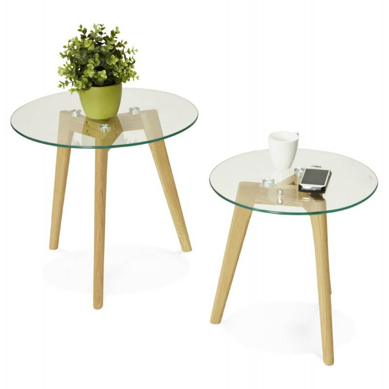 Tables basses design gigognes art en verre et ch ne massif - Tables basses design en verre ...