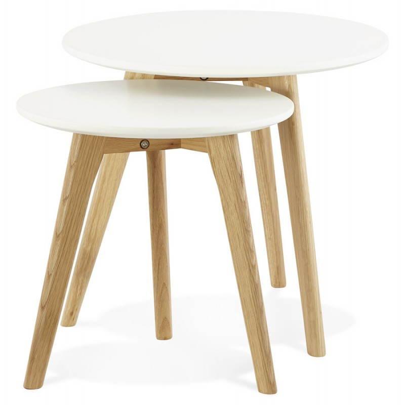 Tables basses design gigognes art en bois et ch ne massif for Table bois et blanc