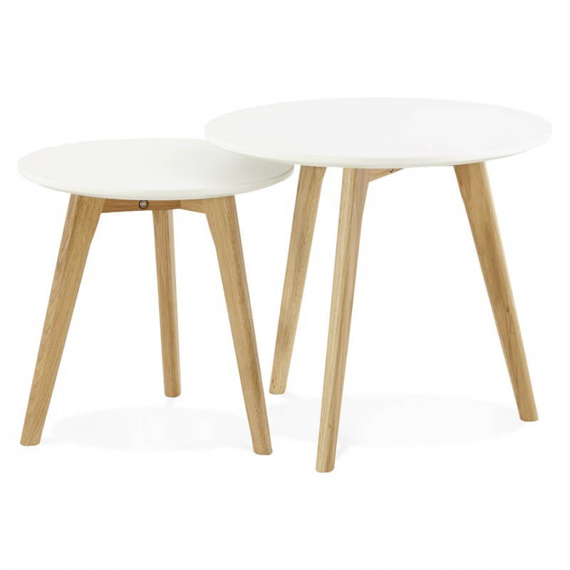 Tables basses design gigognes art en bois et ch ne massif blanc - Tables basses gigognes design ...