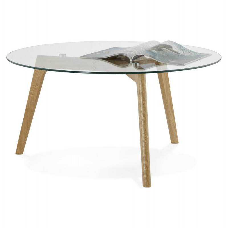 Coffee table style Scandinavian TAROT solid oak and glass - image 25538