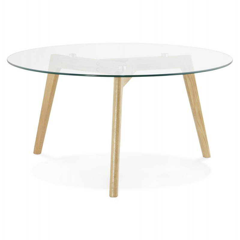 Coffee table style Scandinavian TAROT solid oak and glass - image 25539