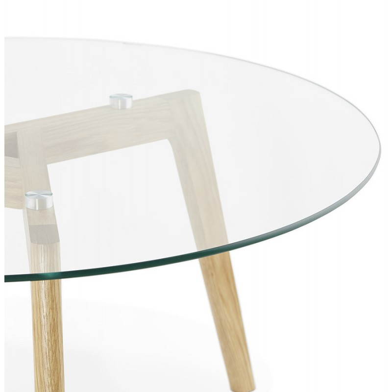 Coffee table style Scandinavian TAROT solid oak and glass - image 25540