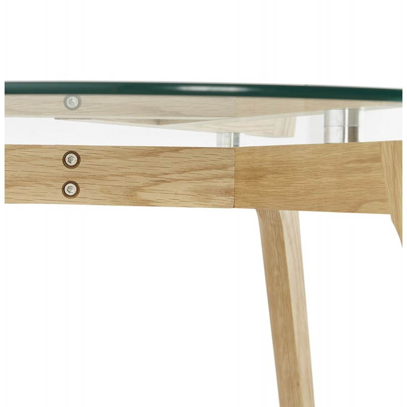 Coffee table style Scandinavian TAROT solid oak and glass - image 25545