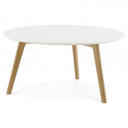 Tarot scandinavian coffee table in wood and oak white for Table basse blanche scandinave