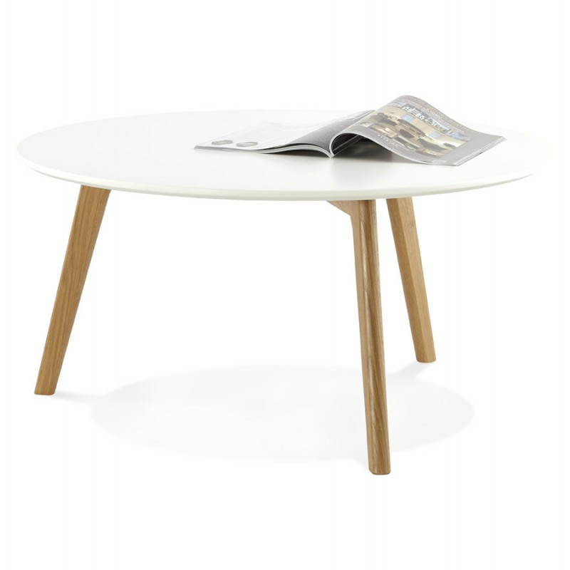 Table basse scandinave tarot en bois et ch ne massif blanc for Table scandinave blanc et bois