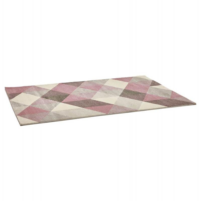 Tapis design style scandinave rectangulaire GEO (230cm X 160cm) (rose, gris, beige) - image 25562