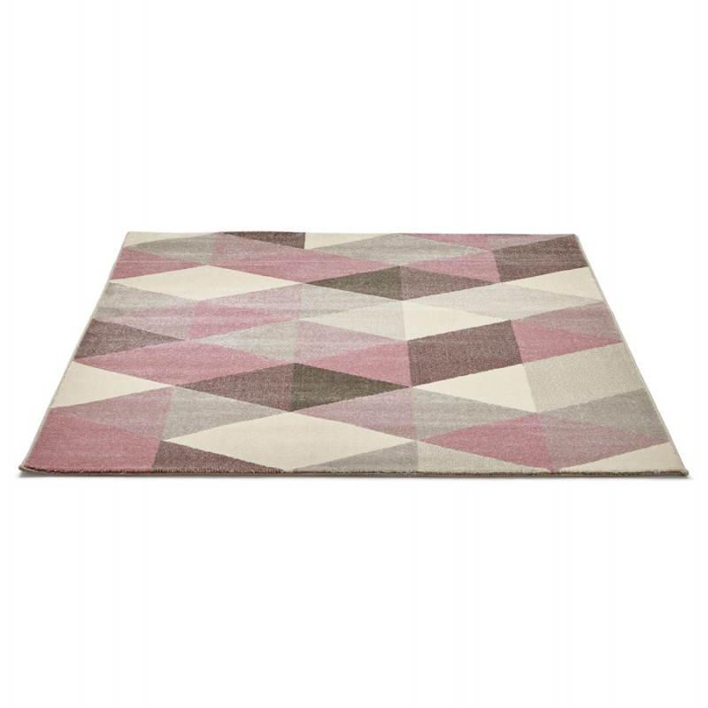 Tapis design style scandinave rectangulaire GEO (230cm X 160cm) (rose, gris, beige) - image 25564