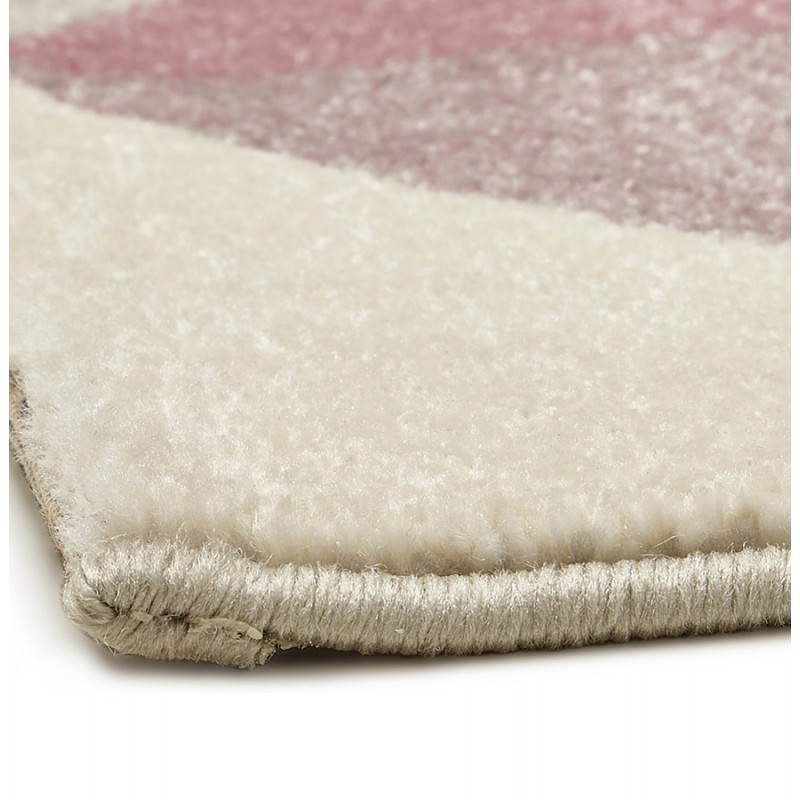 Tapis design style scandinave rectangulaire GEO (230cm X 160cm) (rose, gris, beige) - image 25565