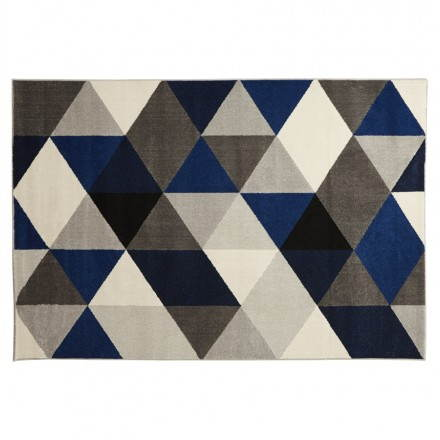 Carpet design rectangular Scandinavian style GEO (gray, blue, beige)