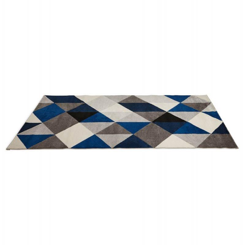 Tapis design style scandinave rectangulaire GEO (230cm X 160cm) (gris, bleu, beige) - image 25573