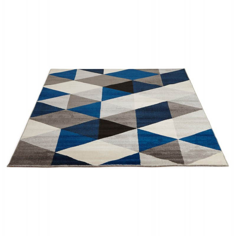 tapis design style scandinave rectangulaire geo 230cm x 160cm gris bleu beige. Black Bedroom Furniture Sets. Home Design Ideas