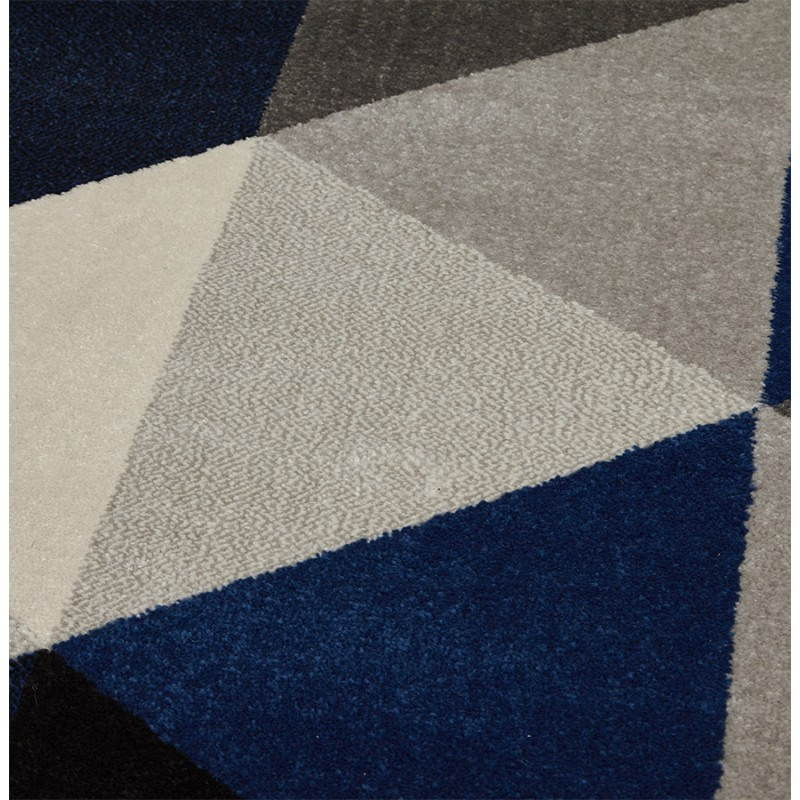 Carpet Design Rectangular Scandinavian Style GEO Gray Blue Beige