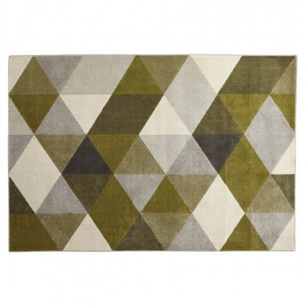 Carpet design rectangular Scandinavian style GEO (230cm X 160cm) (green, grey, beige)