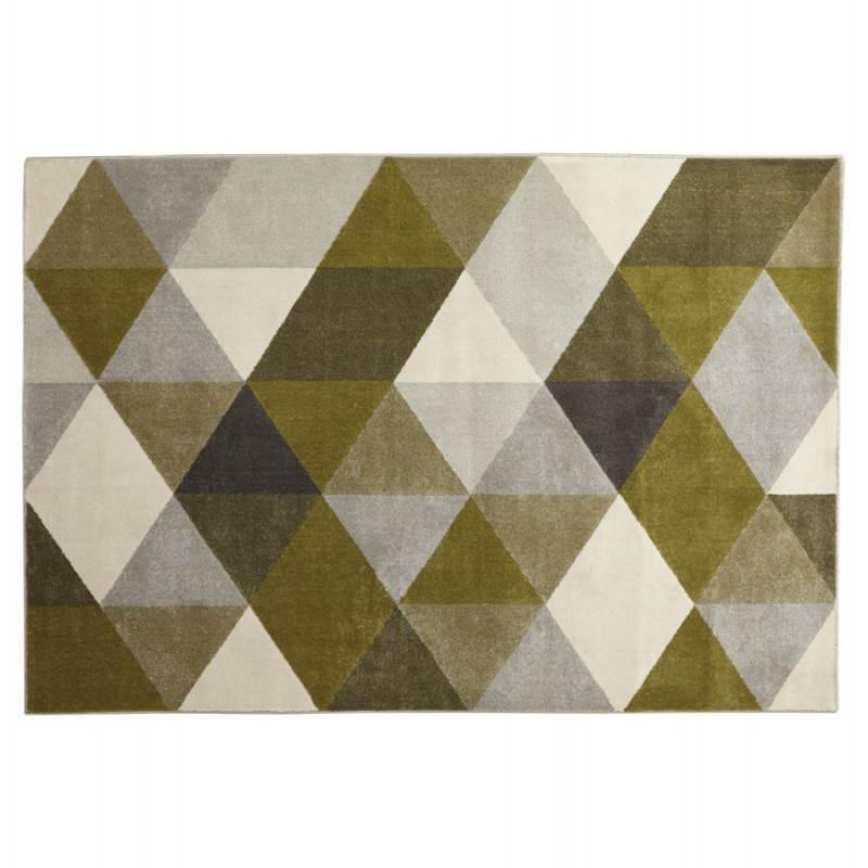 Tapis design style scandinave rectangulaire GEO (230cm X 160cm) (vert, gris, beige)