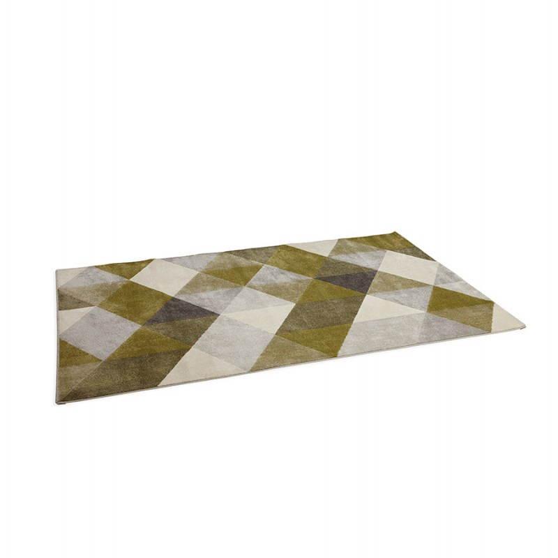Tapis design style scandinave rectangulaire GEO (230cm X 160cm) (vert, gris, beige) - image 25712
