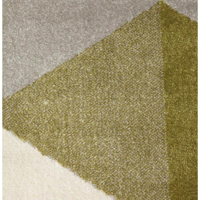 Tapis design style scandinave rectangulaire GEO (230cm X 160cm) (vert, gris, beige) - image 25717
