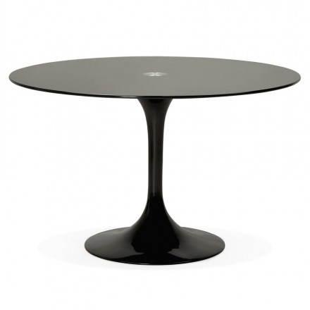 Mesa de comedor de diseño redonda cristal MANGO (negro) (Ø 120 cm ...