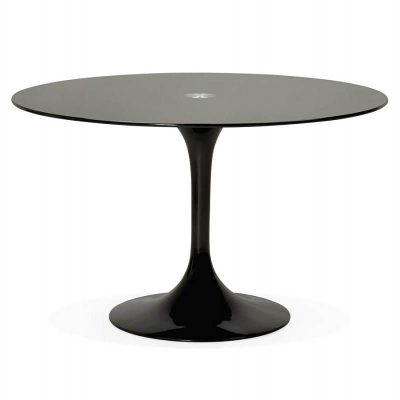 Mesa de comedor de diseño redonda cristal MANGO (negro) (Ø 120 cm)