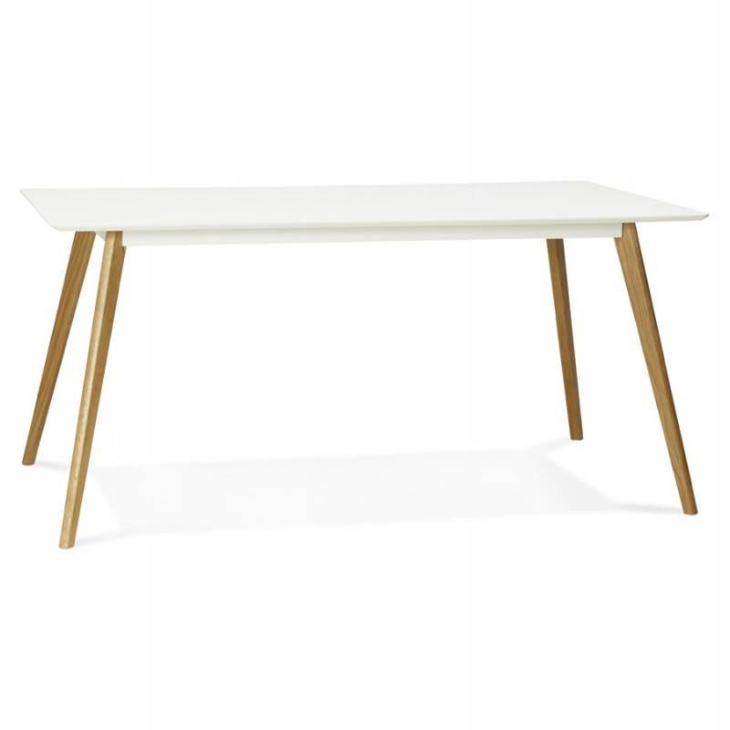 Table à manger style scandinave rectangulaire ORGE en bois (160cmX90cmX75cm) (blanc) - image 25752