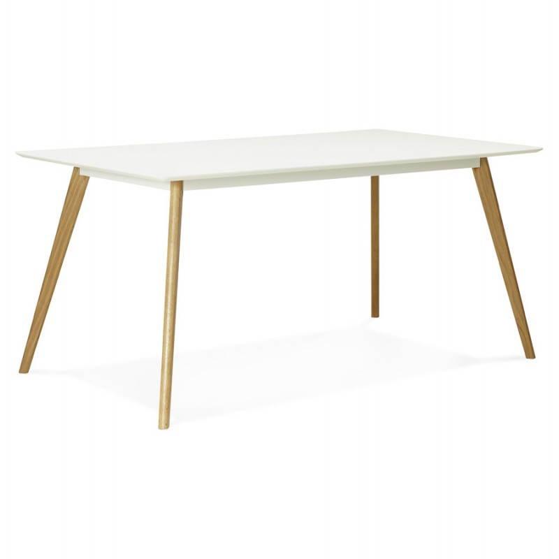 Table à manger style scandinave rectangulaire ORGE en bois (160cmX90cmX75cm) (blanc) - image 25755