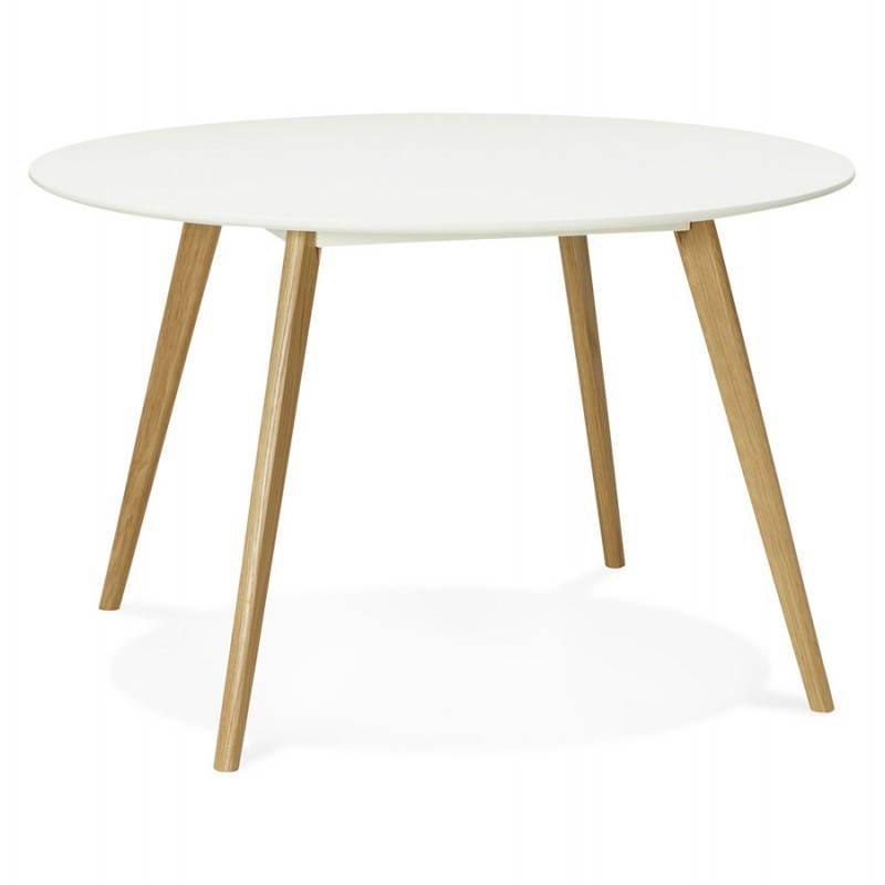 Table à manger style scandinave ronde MILLET en bois (Ø 120 cm) (blanc) - image 25764