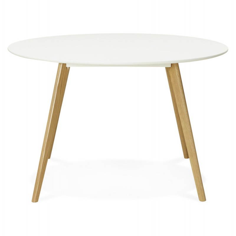 table manger style scandinave ronde millet en bois 120 cm blanc. Black Bedroom Furniture Sets. Home Design Ideas