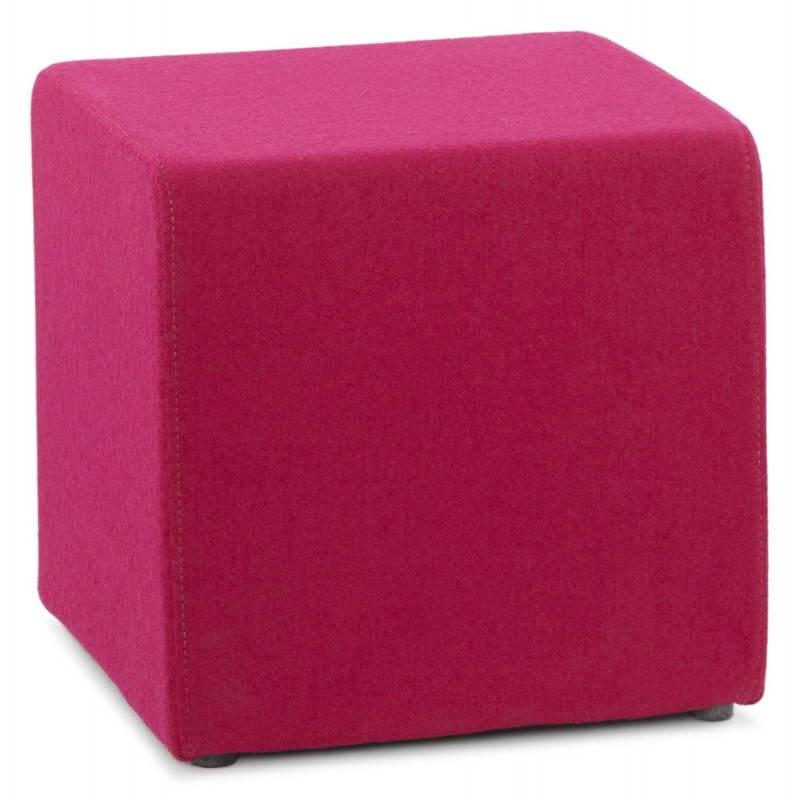 Pouf carré BARILLA en tissu (fushia) - image 25789